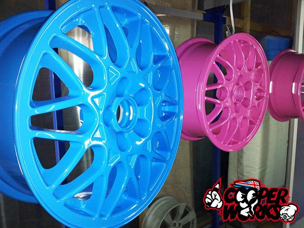 Профессиональная порошковая окраска колёсных дисков Mini Cooper